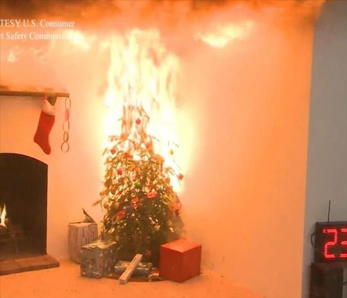 Christmas Tree On Fire.Christmas Tree Fire Prevention Servpro Of La Jolla
